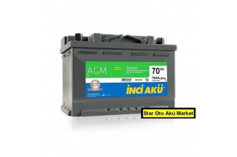 70 Amper Start Staop İnci Akü |AGM